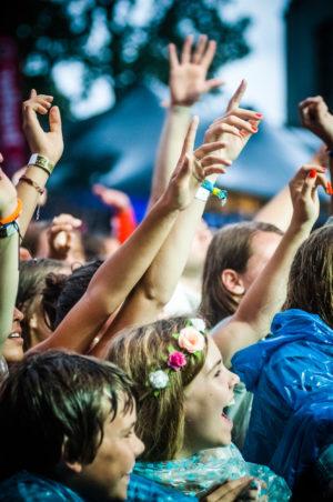 Publiek met handen in de lucht tijdens ParkCity Live, Heerlen 5 juli 2014
